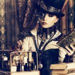 Verkleidete Frau im Steampunk-Stil im Retro Design