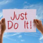 Person hält motivierendes