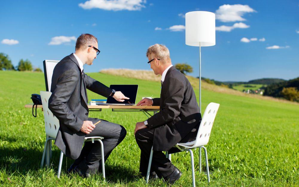 Zwei Geschäftsleute auf einer grünen Wiese in der Natur sitzend bei einer Besprechung am Laptop