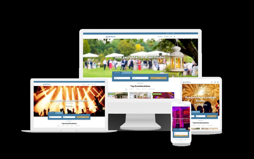 Das Suchportal für Eventlocations eventano auf verschiedenen Bildschirmen