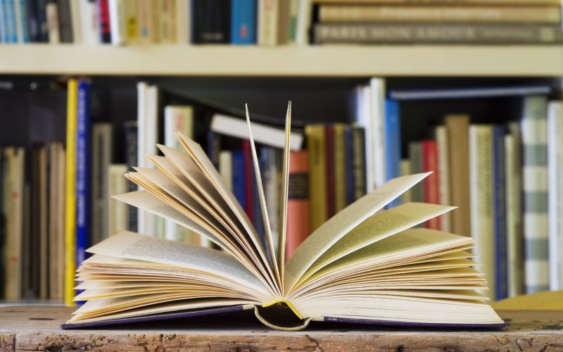 Aufgeschlagenes Buch mit einem unscharfen Bücherregal im Hintergrund
